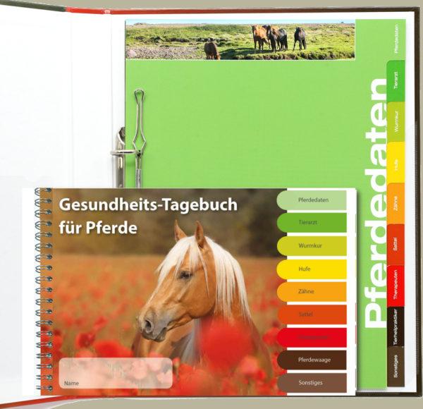 Gesundheitstagebuch für Pferde und Pferdemappe